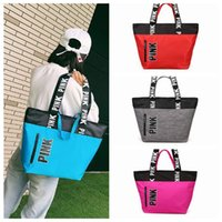 Wholesale Love Pink Large - 4 Colors Pink Handbags Shoulder Bags Women Love Handbags Large Capacity Travel Duffle Striped Waterproof Beach Shoulder Bag CCA7602 10pcs