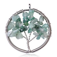 Wholesale Wire Wrap Gemstone - Womens Charms Jewelry multicolor Round Turquoise Handmade Tree of Life Natural Gemstone Crystal Wire Wrap Pendant Necklace