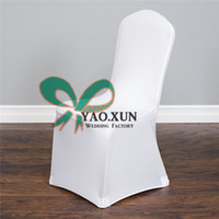 chair coves achat en gros de-White Color Cheap Price Banquet Wedding Lycra Spandex Chair Cove