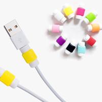 зарядные устройства для мобильных телефонов оптовых-Многоцветный USB-кабель протектор рукав D2 зарядное устройство мобильного телефона силиконовый протектор для IPhone линии защитный