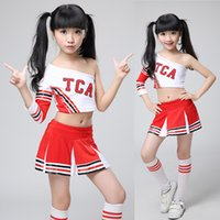 Wholesale Chiffon Tops For Kids - Kids Adult High School Cheerleader Costume Cheer Girls Uniform Party Outfit Tops + Skirt Kids Girl Cheerleader Uniform for Competition