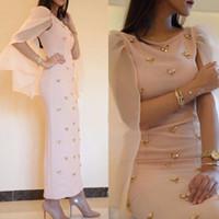 tekne gerçek toptan satış-Yeni Gelmesi A Hattı Arapça kokteyl Elbise Tekne Boyun Saten Altın Boncuklu Kadınlar Ayak Bileği Uzunluk Gerçek Örnek Örgün balo Elbisesi Abiye