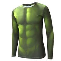 Wholesale Hulk T Shirts - 2017 Avengers Hulk Compression Shirt Men Long sleeve Fitness Crossfit 3D T Shirt Male Gym Clothing Training Bodybuilding Tight Tops