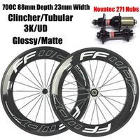 Barato Bicicleta Aros Tubulares Carbono-88mm Fast Forward FFWD Full Carbon Bicycle Bicycle Wheels Wheelset 3K Glossy Clincher Jantes com bicicleta tubular com Novatec 271/372 Hubs White Decals