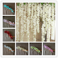 Wholesale wall baskets for flowers for sale - Group buy 50PCS Artificial Hydrangea Wisteria Flower For DIY Simulation Wedding Arch Square Rattan Wall Hanging Basket Can Be Extension