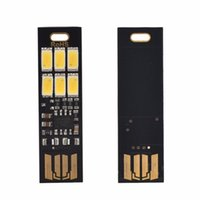 Wholesale Christmas Light Keychain - Wholesale- Mini Pocket Card USB Power 6 LED Keychain Night Light 1W 5V Touch Dimmer Warm Light for Power Bank Computer Laptop Newest