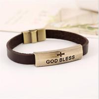 bracelets en cuir religieux achat en gros de-Dieu bénisse signe Bracelet en gros en cuir véritable bracelet magnétique fermoir Charme Bracelet Vintage religieux Jésus bijoux cadeau de Noël Hommes