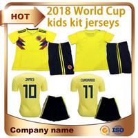 Wholesale Football Clothing Sale - 2018 World Cup Soccer Jerseys kids kit Colombia home #10 JAMES soccer clothes #9 FALCAO CUADRADO Child football shirt Sales custom uniforms