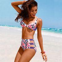 Wholesale underwire padded swimwear online - 2017 New Floral Geometric Print Vintage Bikini Set Womens Push Up Padded Underwire Bikinis Fashion High Waist Swimwear Beachwear