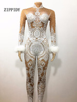Wholesale Female Singers - Sexy White Lace Rhinestones Bodysuit Female Singer Stage Jumpsuit Costume Party Celebrate Glisten Stones Stretch Nude Outfit