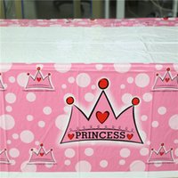 Atacado-1pcs Pink Princess Crown Cartoon plástico Tablecover talheres descartáveis ​​para menina Kids Happy Birthday Party Decoration Supplies
