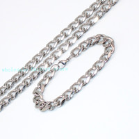 "Wholesale High Polished Silver Link Bracelet - Silver Lobster Clasp High Polished Stainless steel 15mm Cuban Curb Link Chain 24'' Necklace + 8.66"" Bracelet Set"