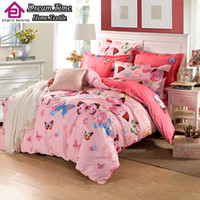 Wholesale Purple Butterfly Queen - Wholesale-4pcs 100%cotton 3D red butterfly bedding set bird fish bed linen mickey cat car duvet cover bed sheet twin full queen king size
