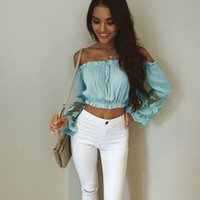 Wholesale Sexy Chiffon Splicing Strapless - Woman Sexy Slash Neck Chiffon Tops 2017 Summer Woman Strapless Lace Splicing Long Sleeve Exposed Navel Short Tops Free Shipping