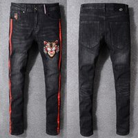 Wholesale Boys Size Skinny Jeans - Size 40 Plus 2018 NEW Apparel Tiger Head Embroidered Men Black Jeans Pants Hombres Jean Trousers Boys