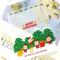 Wholesale Disposable Gift Bags - Wholesale- 25PCS Lot Santa Claus Christmas Gifts Bags Self-adhesive Bake Cookies Biscuit Plastic Packaging Bags Kids Gifts For Decor Candy