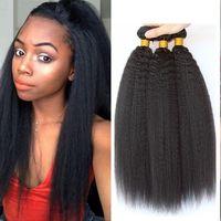 Wholesale Wholesale Italian Lighting - Mongolian Virgin Hair Kinky Straight Human Hair Weave Bundles Natural Black Color Italian Coarse Light Yaki Human Hair Weft