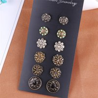 Wholesale Carved Jade Accessories - Bohemian Accessories Stud Earring 6 Pairs Inlaid Crystal Flower Round Shape Carved Charming Retro Ethnic Earrings Sets