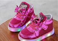 Wholesale Lovely Canvas Shoes - Us size: 5-12 Kids Casual Lighted Shoes Girls Glowing Sneakers Children Hello Kitt Shoes With Led Light Baby Girl Lovely Boots