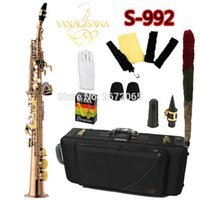 Wholesale saxophone free shipping - wholesale Free Ship YANAGISAWA Soprano Saxophone S-992 Bb Gold Lacquer Professional Sax Mouthpiece With Case and Accessories