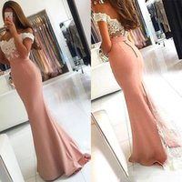 Wholesale Cheap Prom Dresses Free Shipping - 2017 Sexy Free Shipping Women Lace Off Shoulder Formal Dusty Pink Mermaid Dresses Evening wear Long Saudi Arabia Cheap Party Prom Gown