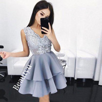 Wholesale T Shirt Layered Skirts - 2017 Cheap Lace Short Prom Homecoming Dresses Arabic Custom A Line V Neck Sleeveless Layered Skirt Mini Cocktail Party Gowns Fast Shipping