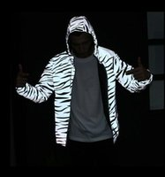 Wholesale Zebra Print Jackets - Spring and Autumn King Kayan West Man Jacket Tide Plate Zebra 3M Reflective Jackets Winner Luminous Jackets