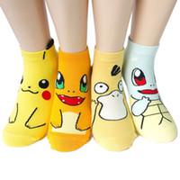 karikatür öpücü toptan satış-Sıcak Satış Karikatür Anime Pikachu Simpson Yetişkin Çorap Kadın Kısa Sevimli Sanat Pamuk Çorap Lady Kız Öpücük Çorap Ayak Bileği Meias Sox Noel Hediyesi