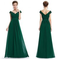 Wholesale Shiny Evening Dresses Beads - Elegant 2017 Green Dresses Evening Wear Off The Shoulder Neck with Shiny Scattered Beads and Lace Pleated Bodice A Line Chiffon Evening Gown