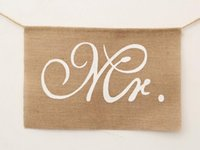 Wholesale Burlap Garland - Hot Khaki Mr. & Mrs. Burlap Chair Banner Set Chair Sign Garland Rustic Wedding Party Decoration
