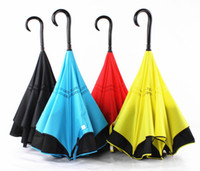 Wholesale Nylon Long Tube - New Creative Inverted Umbrellas Double Layer With C Handle J handle Inside Out Reverse Windproof Umbrella Rain Protection for Car