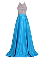 Wholesale Engagement Dresses Sleeves - Long Engagement Dresses 2017 Plus Size Formal Dress Halter Blue Satin Beaded Floor Length Evening Dress Backless Prom Gowns