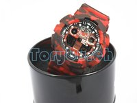 black box picture - New colors picture CAMO dual display relogio men s sports watches LED chronograph wristwatch military watch with box
