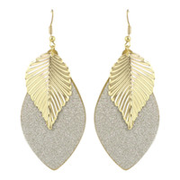 Wholesale Ethnic Earrings For Women - Bohemian Style Party Earrings Gold-Color Silver Color Black Leaf Ethnic Dangle Hanging Earrings for Women Famous Brand Jewelry