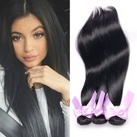 Brazilian Straight Bundles Pas cher Hair Extensions Natural Black Brésiliens Indien Péruvien Malaisien 7a Virgin Hair Kinky Straight Weave Sale