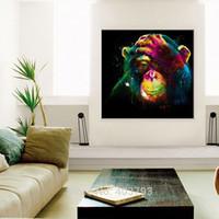 macacos vivos venda por atacado-Arte da parede Pintados À Mão Pintura A Óleo Sem Moldura Colorido Ano do Macaco Pintura em Tela Moderna Animais Imagem para Sala de estar