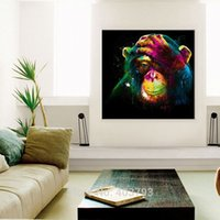 Wholesale Monkey Frame - Wall Art Hand Painted Oil Painting No Framed Colorful Year of Monkey Painting on Canvas Modern Animals Picture for Living Room
