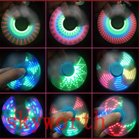 Wholesale Big Plastic Beads Wholesale - LED Fidget Spinner with 7 LED Beads Different Patterns Tri-spinner EDC Anti-stress Decompression Novelty Toy with retail package