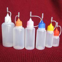 botellas de liquido e agujas al por mayor-Botella de aguja Botella de aguja de plástico para E Líquido con Colorido Cap Sugerencia 5ml 10ml 15ml 20ml 30ml 50ml Botella vacía DHL Gratis