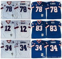 Wholesale Kelly Smith - Throwback 12 Jim Kelly Jersey Man 34 Thurman Thomas 78 Bruce Smith 83 Ander Reed Home Blue Road Away White Embroidery And Sewing Logo