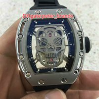 Men's rubber tourbillon - The new fashion skull hollow tourbillon mechanical male watch High quality brand stainless steel case rubber strap mechanical watch