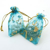 Wholesale coffee organza bags - Wholesale- 7x9cm Light Blue Heart Bronzing Organza Jewelry Popular Bags Cheap Organza Pouches Coffee Beans Bgas 100pcs lot Wholesale