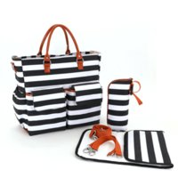 Wholesale Large capacity multifunctional mommy bag striped canvas fashion diaper bag stroller nappy changing bag leisure hobos for mommy
