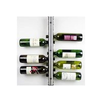 Wholesale Stainless Steel round Tubular Wine Rack Bar Wall Mounted Kitchen Holder Bottles holes beer Wine wisky Holder Shelf stand grip Storage