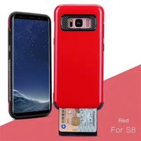 Wholesale Slide Back Case - Card Holder CellPhone Case for Samsung S8 S8 Plus Cell Phone Cover Case with Slid Card Holder Mobile Back Shell with OPP bag