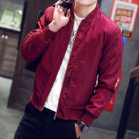 Wholesale Mandarin Coat - Wholesale- Men's Fashion Classic Padded Bomber Jacket Slim Motorcycle Coat Zip Outwear