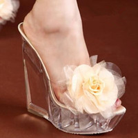 Wholesale Kvoll Party Shoes - Women Sandal Shoes Woman Sandals New 2017 Transparent Kvoll Ultra high Heels Slippers Shaped Resin Flower Women's Wedges Shoes