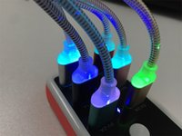Wholesale Led Free Delivery - 1M LED light cable USBcharging cable with lights data lines Android color change color charging data line HDL free delivery
