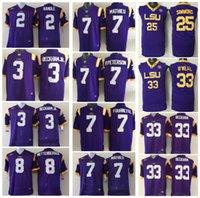 Wholesale Mathieu Football Jerseys - 3 BECKHAMJR. 7 MATHIEU 7 P.PETERSON 7 FOURNETTE 25 SIMMONS 33 BECKHAM Mens College LSU Tigers Men Jersey Football Jerseys