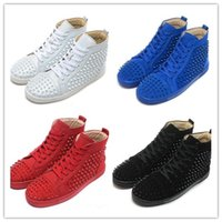 Wholesale Cheap Blue Board - 2017 Cheap Red Bottom Sole High Top Sneakers for Men Women with Spikes Black Blue Suede Designer Casual Men Leisure Footwear Board Shoes